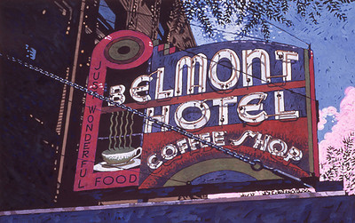 """The Belmont Hotel"" Gouache on acid-free Chip Board"