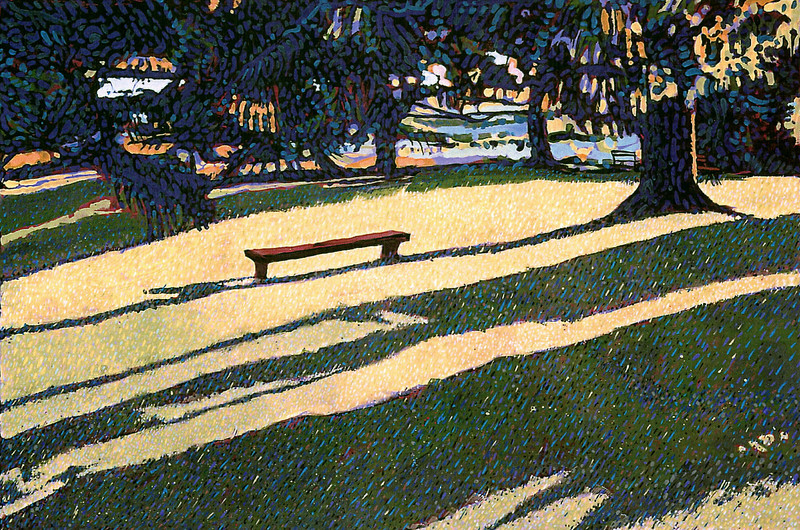 """Red Bench and Long Shadows"" Tempera on Kraft Paper"