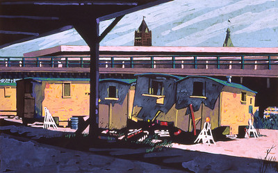 """Yellow Trailers Beneath the Viaduct"" Gouache on acid-free Chip Board"