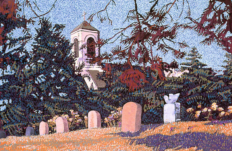"""Little Cemetery and St. Lawrence Church"" Tempera on Kraft Paper"