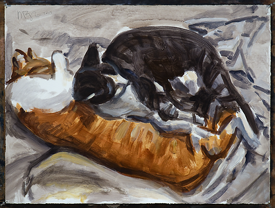 Untitled (two resting cats), acrylic on paper, 22 x 30 in., 2017