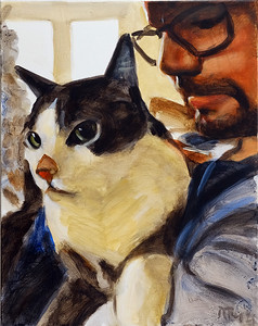 Man with cat, acrylic on canvas, 16 x 20 in., 2021