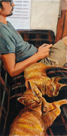 Man on couch with cats, acrylic on canvas, 24 x 12 in., 2020