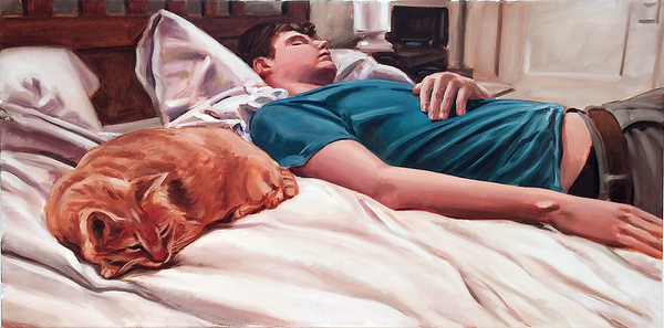Sleeper with cat, oil on canvas, 18 x 36 in., 2015