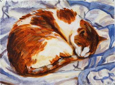 Sleeping Cat (Mikey), acrylic on paper, 9 x 12, 2021
