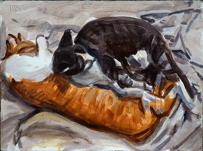 Untitled (two cats on bed), acrylic on paper, 22 x 30 in., 2017