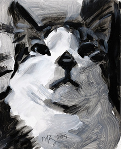Baxter (b/w version), acrylic on panel, 8 x 10 in., 2019