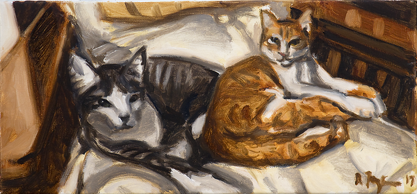 Two Cats in Chair, oil on canvas, 8 x 17.5 in., 2017