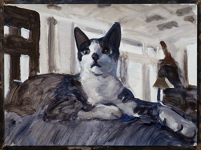 Baxter on couch,  acrylic on paper, 22 x 30 in., 2017
