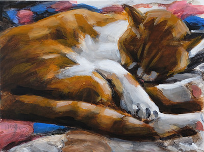 Sleeping Cat (O'Malley), acrylic on wood panel, 9 x 12 in, 2019