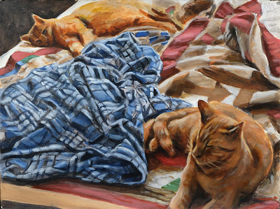 Lounging Cats version 2, acrylic on paper, 22 x 30 in., 2020
