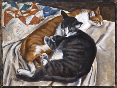 Resting cats, acrylic on paper, 22 x 30 in., 2017