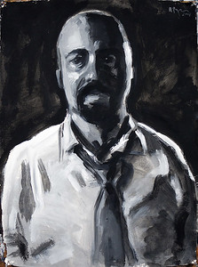 Portrait study - Lee R (v2); acrylic on paper, 22 x 30 in, 2018