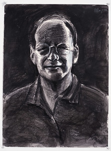 Portrait study - Tom S (dark); charcoal, 22 x 30 in, 1998