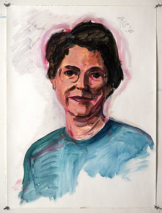 Portrait study - Sonja Q; acrylic on paper, 22 x 30 in, 2000