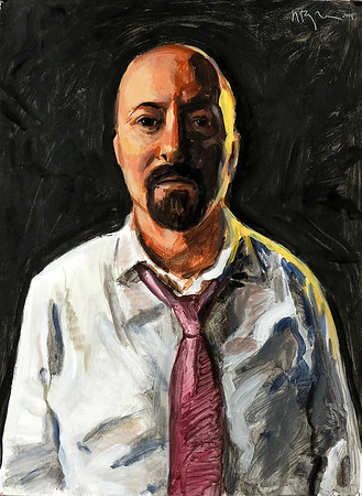Portrait study - Lee R (v1); acrylic on paper, 22 x 30 in, 2018