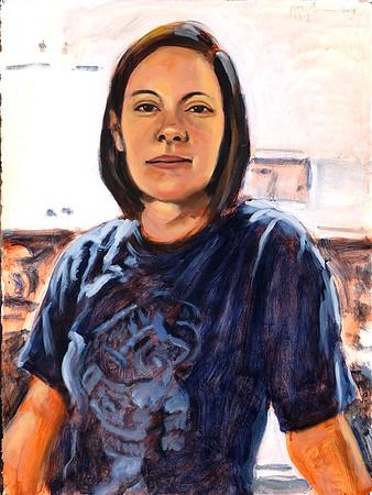 Portrait study - Jenny H (v1); acrylic on paper, 22 x 30 in, 2018