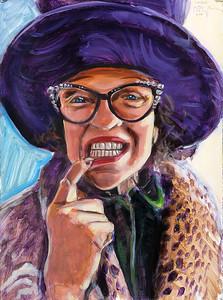 Portrait study - Nancy L (v2); acrylic on paper, 22 x 30 in, 2018