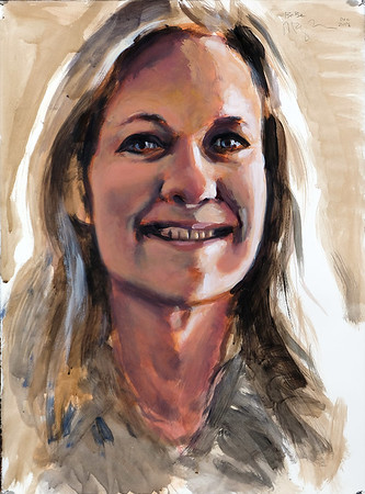 Portrait study - BB v2; acrylic on paper, 22 x 30 in, 2018