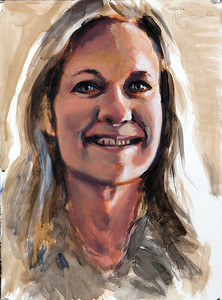 Portrait study - BB v2; acrylic on paper, 22 x 30 in, 2018