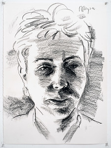 Portrait study - Carol R; charcoal, 22 x 30 in, 1996