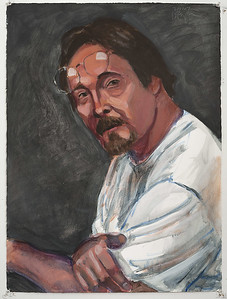 Self portrait at 53; acrylic on paper, 22 x 30 in, 2007