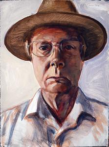 Self portrait in hat; acrylic on paper, 22 x 30 in, 2018