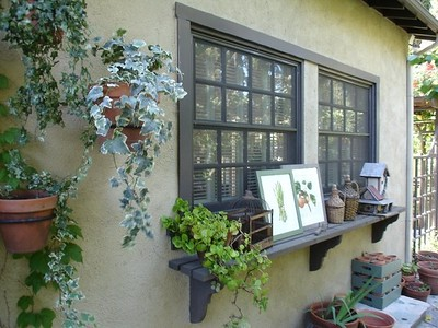 Outside view of the big window in the art studio
