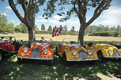 Morgans at Father's Day British Car Show with local Victoria Cricketers in the background