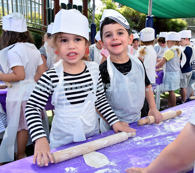 Matzah Bakery at Moriah Early Learning Centre. Dalia Tolub (left), Liam Pitusi. Pic Noel Kessel
