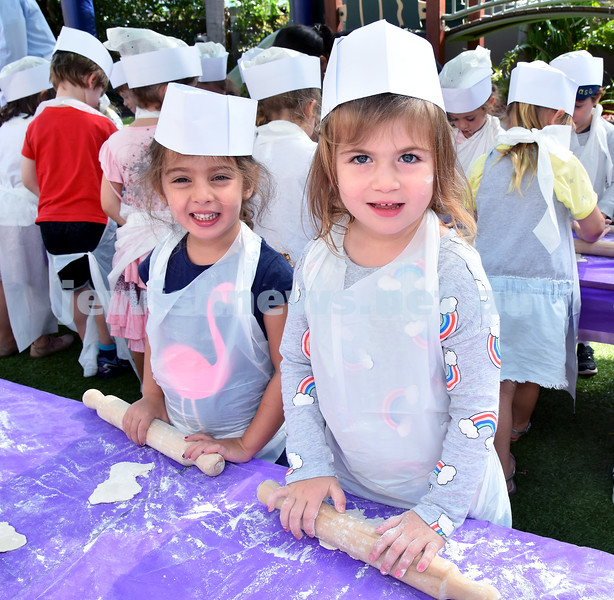 Matzah Bakery at Moriah Early Learning Centre. Maya Benjamin (left), Camila Taylor. Pic Noel Kessel