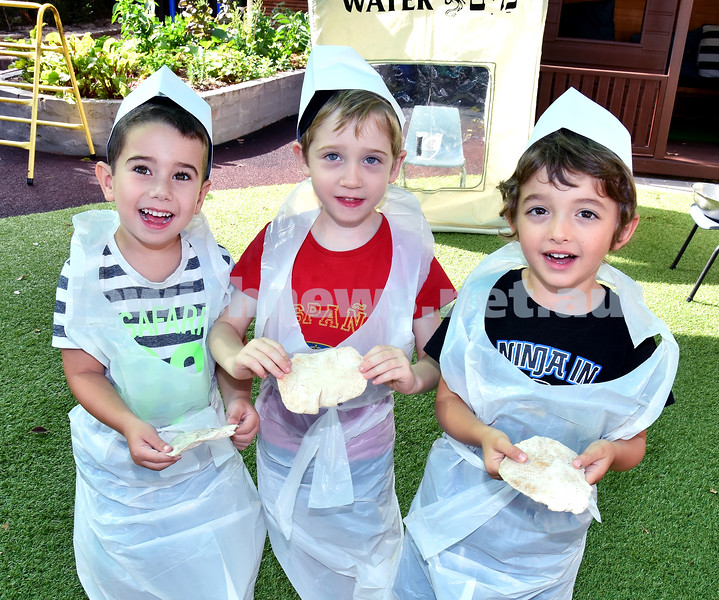 Matzah Bakery at Moriah Early Learning Centre. From left: Daniel Abkin, Riley Schmaman, Gabriel Shamgar. Pic Noel Kessel