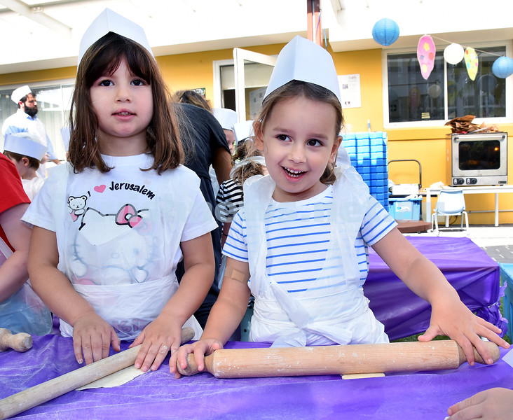 Matzah Bakery at Moriah Early Learning Centre. Michaela Levine (left), Zoe Stoliar. Pic Noel Kessel