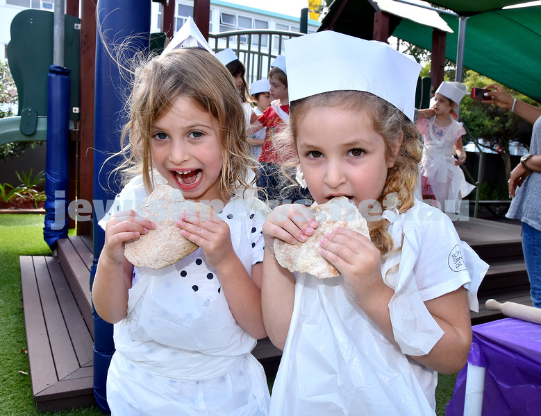 Matzah Bakery at Moriah Early Learning Centre. Andy Lipsitz (left), Layla Wermut. Pic Noel Kessel
