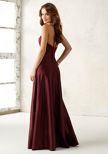 21517 Satin Bridesmaids Dress with Matching Satin Waistband Sleek Satin Bridesmaids Dress Features a Matching Satin Waistband and Hidden Side Pockets. Zipper Back. Shown in Bordeaux