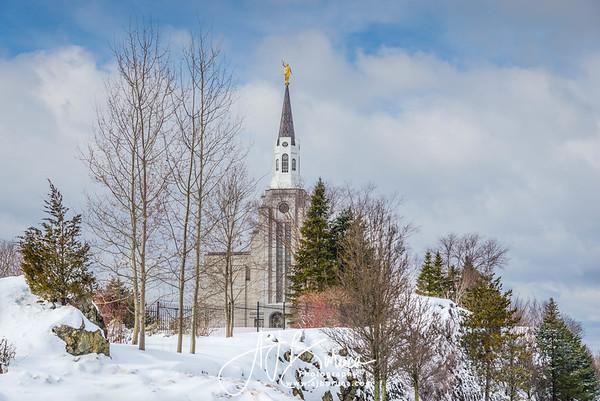 Winter Morning Boston Massachusetts Temple