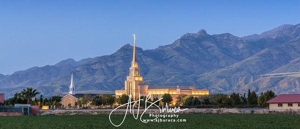 Gila Valley Arizona Temple Sunrise Panorama