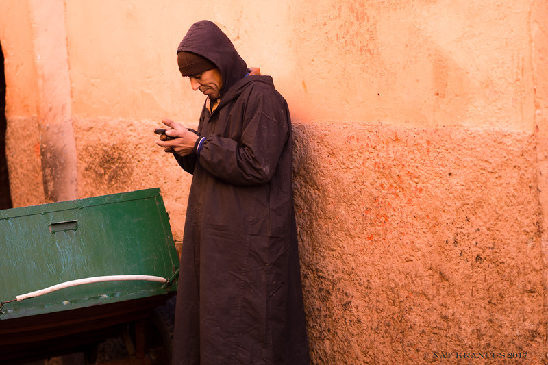 Texting in Marrakesh