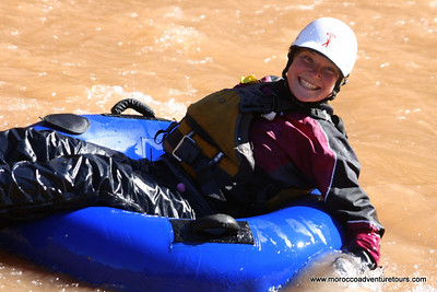Erin a Splash Rafting river guide from Canada having adventure activity fun in Morocco after a long rafting season in Scotland http:// www.moroccoadventuretours.com