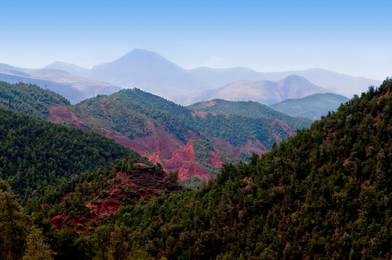 A view of layered mountains of the High Atlas range in Morocco.
