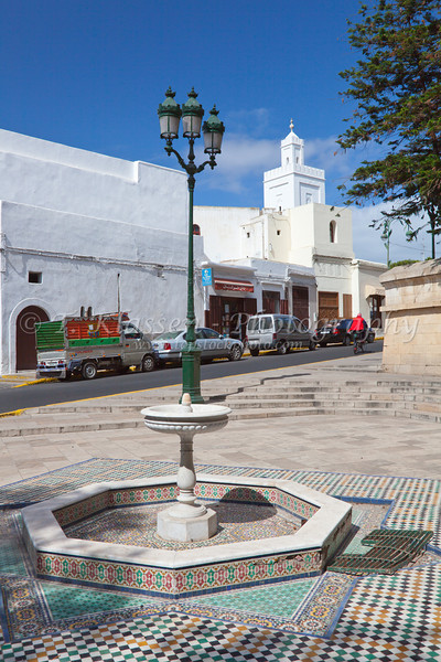 A mosaic tile fountain near the Royal Palace in the Habous Quarter of Casablanca, Morocco.