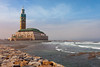 The Mohammed V mosque with the Atlantic Ocean in Casablanca, Morocco.