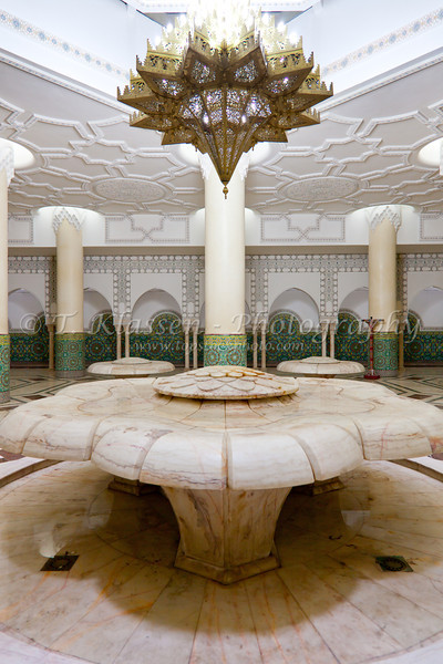 Interior halls, ablution fountains and basins of the Mohammed V mosque in Casablanca, Morocco.