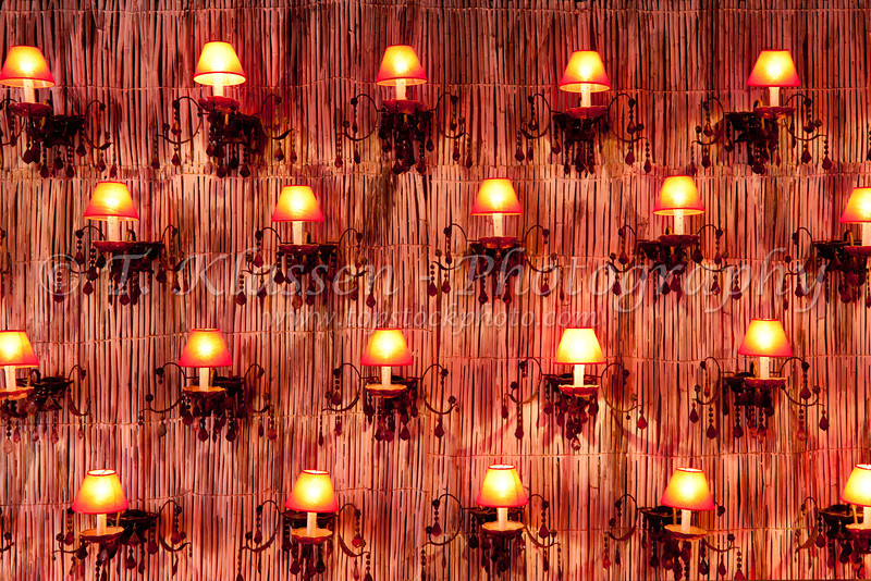A wall of decorative lights in a seaside restaurant on the Corniche in Casablanca, Morocco.
