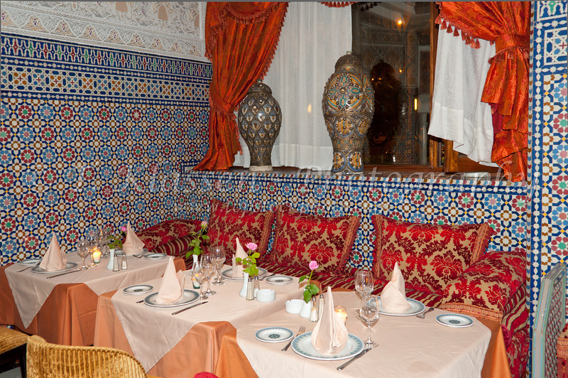 Interior and table setting at the Basmane restaurant in Casablanca, Morocco.
