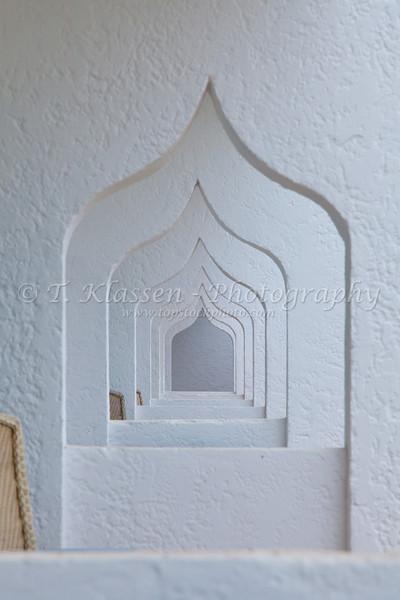 Decorative arches at the Hotel Riad Salem on the Corniche in Casablanca, Morocco.