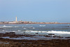 A view of the El Hank lighthouse on the Corniche on the  Atlantic Ocean in Casablanca, Morocco.
