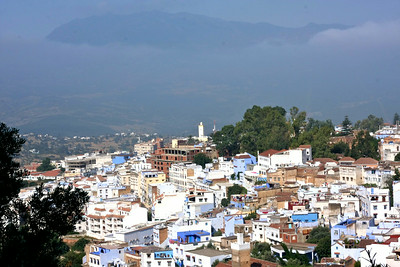 Chefchaouen, cloaked in mountains, from above