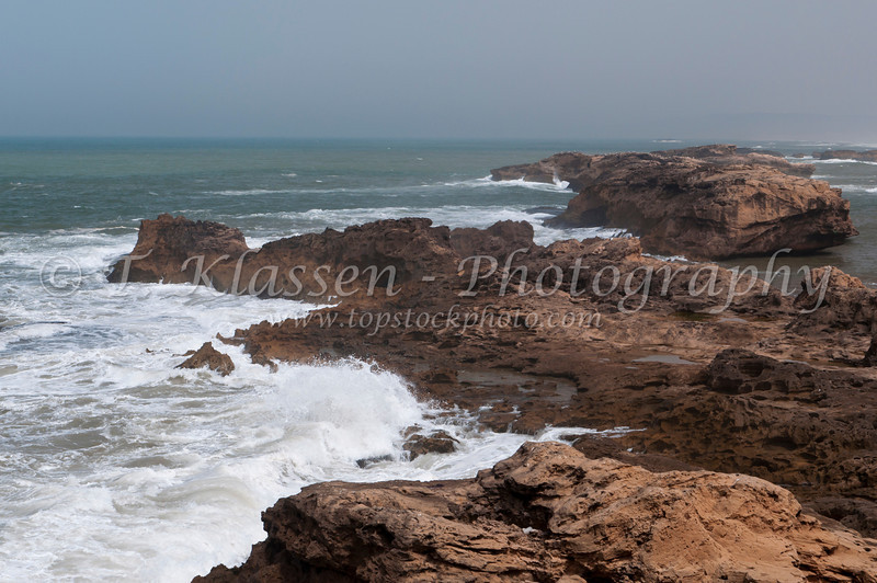 Coastal view of the Atlantic ocean from the Portuguese fort in Essaouira, Morocco.