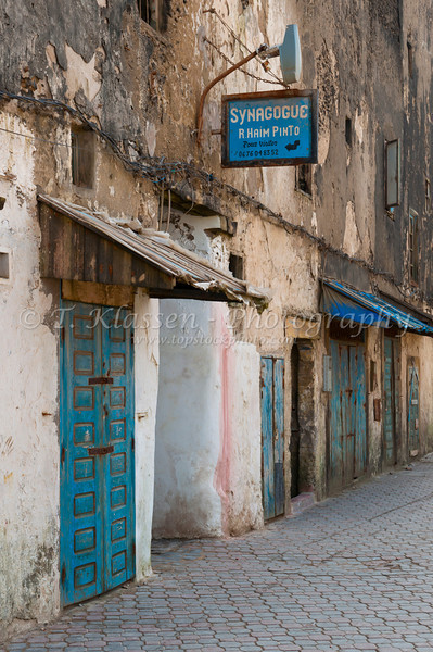 A Jewish Synogogue entrance and sign in Essaouira, Morocco.